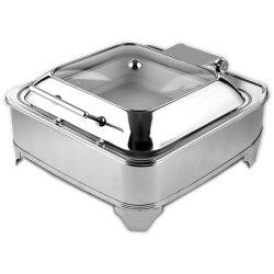 Chafing Dish Elektrisk GN2/3 Glaslock Rostfritt stål 5,5 liter | Adexa AD3202