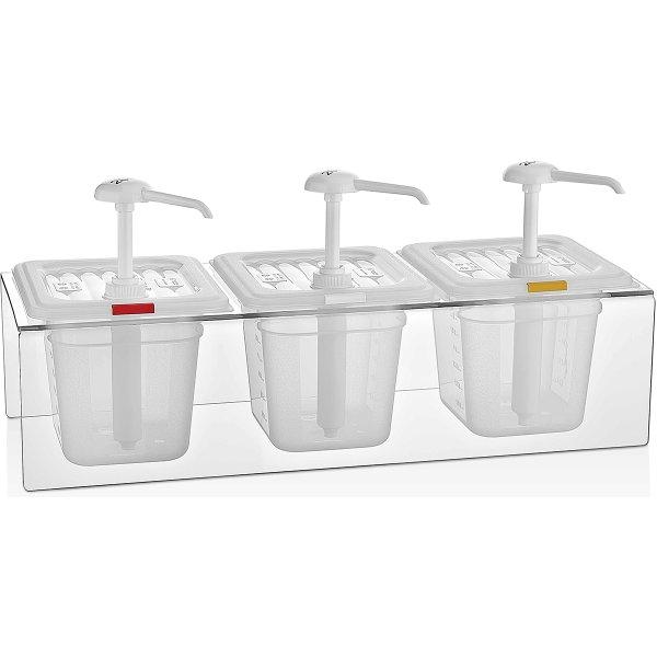 Professionell Såsdispenser med stativ 3 pumpar Plast | Adexa GDP03