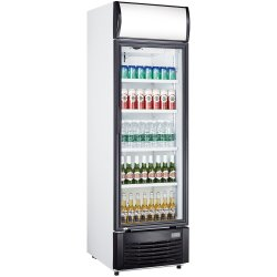 Drickakyl 332 liter Glasdörr Svart/Vit Fläktkyla | Adexa LG332B