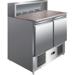 Kylbänk med Pizzatopp 2 dörrar Rostfritt stål 5xGN1/6 Djup 700mm | Adexa PS900