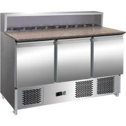 Kylbänk med Pizzatopp 3 dörrar Rostfritt stål 8xGN1/6 Djup 700mm | Adexa PS903