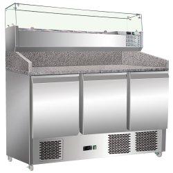 Pizzakylbänk med Kylränna 6xGN1/4 3 dörrar Djup 700mm | Adexa S903PZ+VRX1400