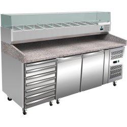 Pizzakylbänk med Kylränna 10xGN1/4 Granit-topp 2 dörrar 7 draglådor Djup 800mm | Adexa PZ46+PT46
