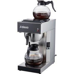 Professionell Kaffebryggare 2 kannor 2 värmeplattor Rostfritt stål | Adexa RBG2201