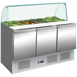 Saladette Glastopp 1365x700x1350mm 3 dörrar | Adexa S903CG